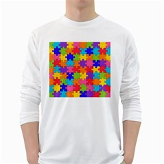 Funny Colorful Puzzle Pieces White Long Sleeve T Shirts by yoursparklingshop