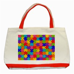 Funny Colorful Puzzle Pieces Classic Tote Bag (red) by yoursparklingshop