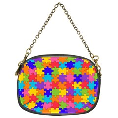 Funny Colorful Puzzle Pieces Chain Purses (one Side)  by yoursparklingshop