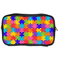 Funny Colorful Puzzle Pieces Toiletries Bags 2 Side by yoursparklingshop