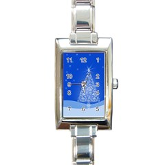 Blue White Christmas Tree Rectangle Italian Charm Watch by yoursparklingshop
