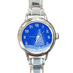 Blue White Christmas Tree Round Italian Charm Watch by yoursparklingshop