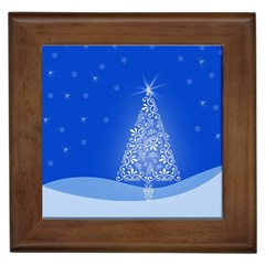 Blue White Christmas Tree Framed Tiles by yoursparklingshop