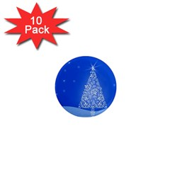 Blue White Christmas Tree 1  Mini Magnet (10 Pack)  by yoursparklingshop