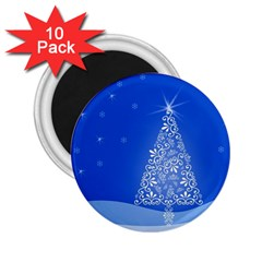 Blue White Christmas Tree 2 25  Magnets (10 Pack)  by yoursparklingshop