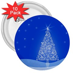Blue White Christmas Tree 3  Buttons (10 Pack)  by yoursparklingshop