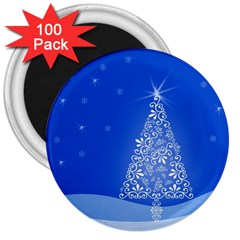 Blue White Christmas Tree 3  Magnets (100 Pack) by yoursparklingshop