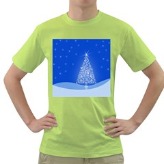 Blue White Christmas Tree Green T Shirt by yoursparklingshop