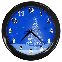 Blue White Christmas Tree Wall Clocks (black) by yoursparklingshop