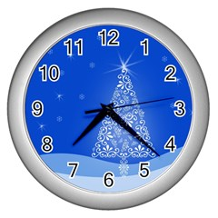 Blue White Christmas Tree Wall Clocks (silver)  by yoursparklingshop