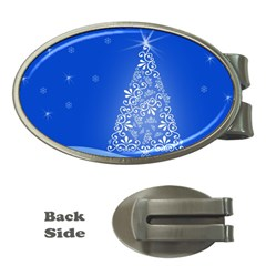 Blue White Christmas Tree Money Clips (oval)  by yoursparklingshop