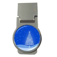 Blue White Christmas Tree Money Clips (round)  by yoursparklingshop