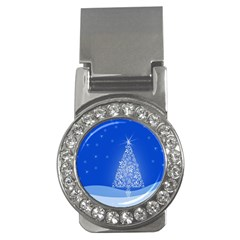 Blue White Christmas Tree Money Clips (cz)  by yoursparklingshop