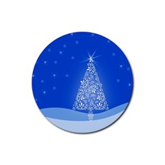Blue White Christmas Tree Rubber Coaster (round)  by yoursparklingshop