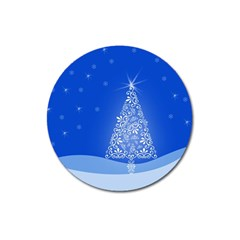 Blue White Christmas Tree Magnet 3  (round) by yoursparklingshop