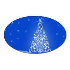 Blue White Christmas Tree Oval Magnet by yoursparklingshop