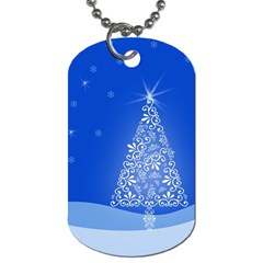 Blue White Christmas Tree Dog Tag (two Sides) by yoursparklingshop