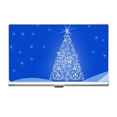 Blue White Christmas Tree Business Card Holders by yoursparklingshop
