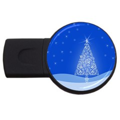 Blue White Christmas Tree Usb Flash Drive Round (2 Gb)  by yoursparklingshop