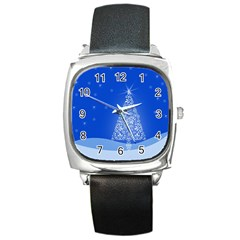 Blue White Christmas Tree Square Metal Watch by yoursparklingshop