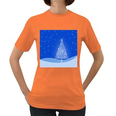 Blue White Christmas Tree Women s Dark T Shirt by yoursparklingshop