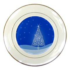 Blue White Christmas Tree Porcelain Plates by yoursparklingshop