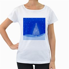 Blue White Christmas Tree Women s Loose Fit T Shirt (white) by yoursparklingshop