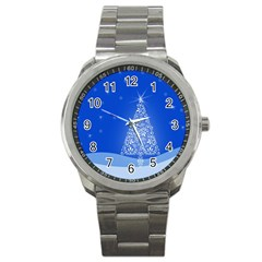 Blue White Christmas Tree Sport Metal Watch by yoursparklingshop