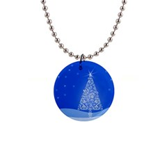 Blue White Christmas Tree Button Necklaces by yoursparklingshop