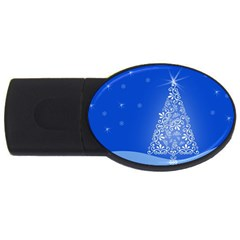Blue White Christmas Tree Usb Flash Drive Oval (4 Gb)  by yoursparklingshop
