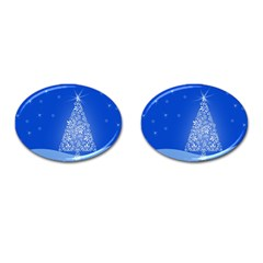 Blue White Christmas Tree Cufflinks (oval) by yoursparklingshop