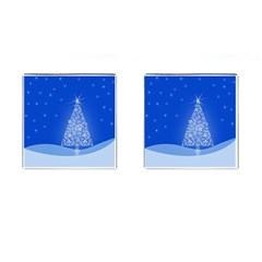Blue White Christmas Tree Cufflinks (square) by yoursparklingshop