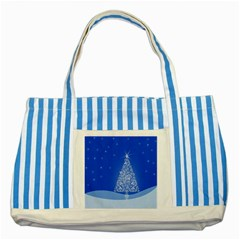 Blue White Christmas Tree Striped Blue Tote Bag by yoursparklingshop