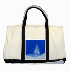 Blue White Christmas Tree Two Tone Tote Bag by yoursparklingshop