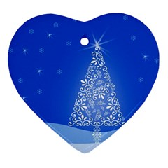 Blue White Christmas Tree Heart Ornament (2 Sides) by yoursparklingshop