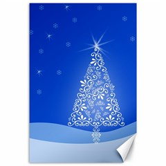 Blue White Christmas Tree Canvas 24  X 36  by yoursparklingshop
