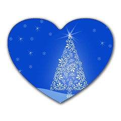 Blue White Christmas Tree Heart Mousepads by yoursparklingshop