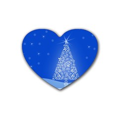 Blue White Christmas Tree Rubber Coaster (heart)  by yoursparklingshop