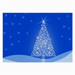 Blue White Christmas Tree Large Glasses Cloth (2 Side) by yoursparklingshop