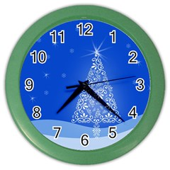 Blue White Christmas Tree Color Wall Clocks by yoursparklingshop