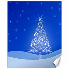 Blue White Christmas Tree Canvas 11  X 14   by yoursparklingshop