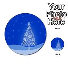 Blue White Christmas Tree Multi Purpose Cards (round)  by yoursparklingshop