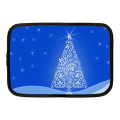 Blue White Christmas Tree Netbook Case (medium)  by yoursparklingshop
