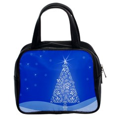 Blue White Christmas Tree Classic Handbags (2 Sides) by yoursparklingshop