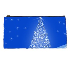 Blue White Christmas Tree Pencil Cases by yoursparklingshop