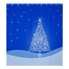 Blue White Christmas Tree Shower Curtain 66  X 72  (large)  by yoursparklingshop