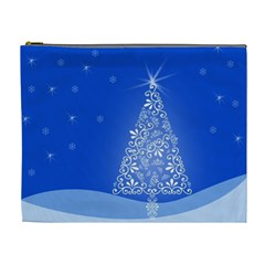 Blue White Christmas Tree Cosmetic Bag (xl) by yoursparklingshop