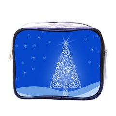 Blue White Christmas Tree Mini Toiletries Bags by yoursparklingshop