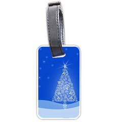 Blue White Christmas Tree Luggage Tags (two Sides) by yoursparklingshop
