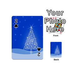 Blue White Christmas Tree Playing Cards 54 (mini)  by yoursparklingshop